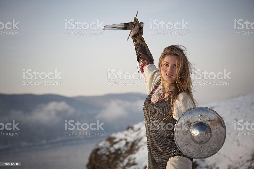 Girl knight stock photo