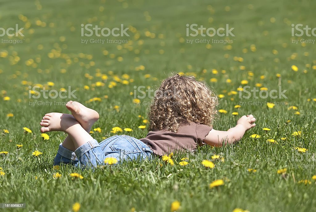 Girl Laying in Dandelion Grass royalty-free stock photo