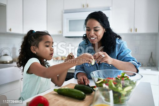 Mother and daughter preparing meal at home. Girl is learning to prepare food from woman. They are in kitchen.