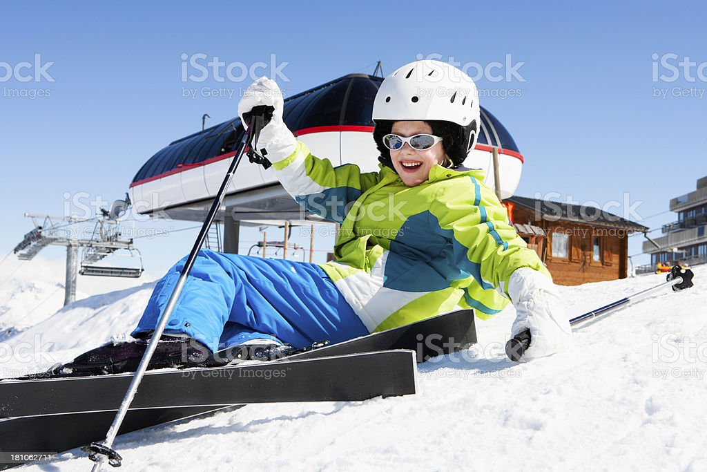 Girl Learning to Ski royalty-free stock photo