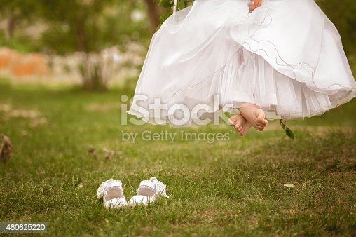 Girl legs on swing set