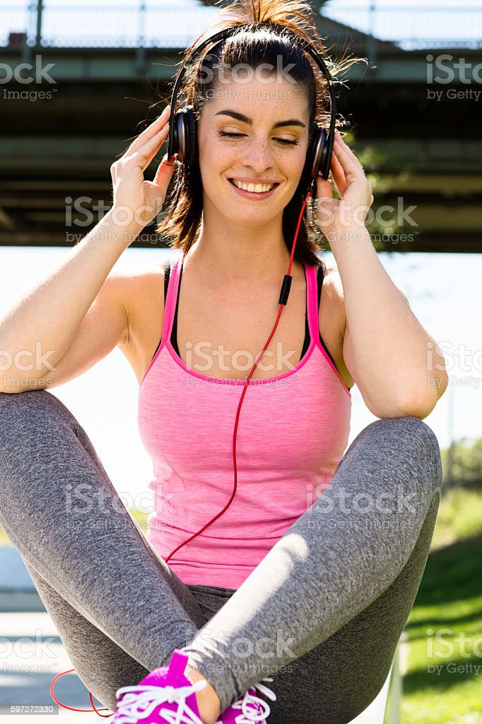 girl listening to some music. urban lifestyle royalty-free stock photo