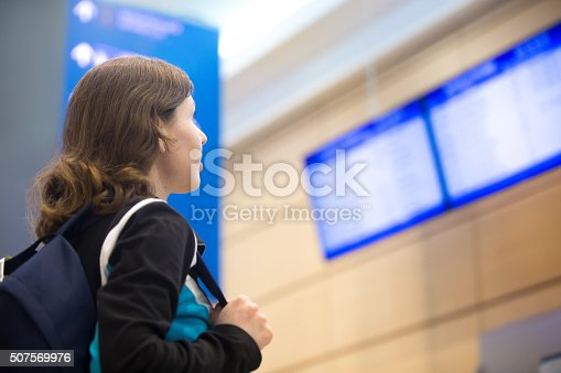 469824732istockphoto Girl looking at airport flight information board 507569976