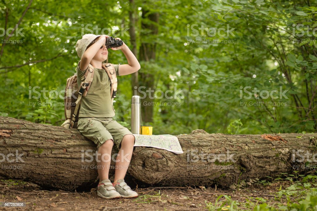 girl looking at birds through binoculars, camping in the woods stock photo