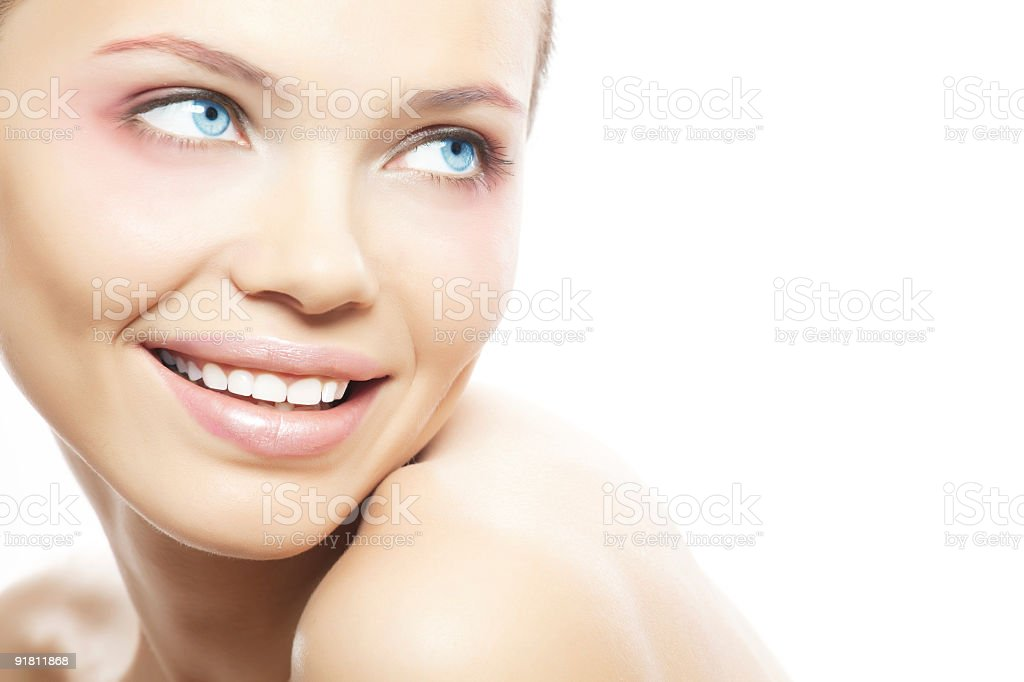 Girl looking at blank space royalty-free stock photo