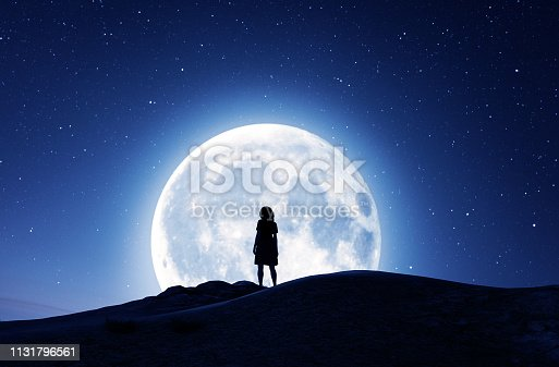 Girl looking at the moon in starry night,3d rendering
