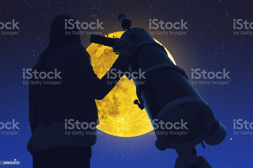 Girl looking at the stars and full Moon through a telescope. Elements...