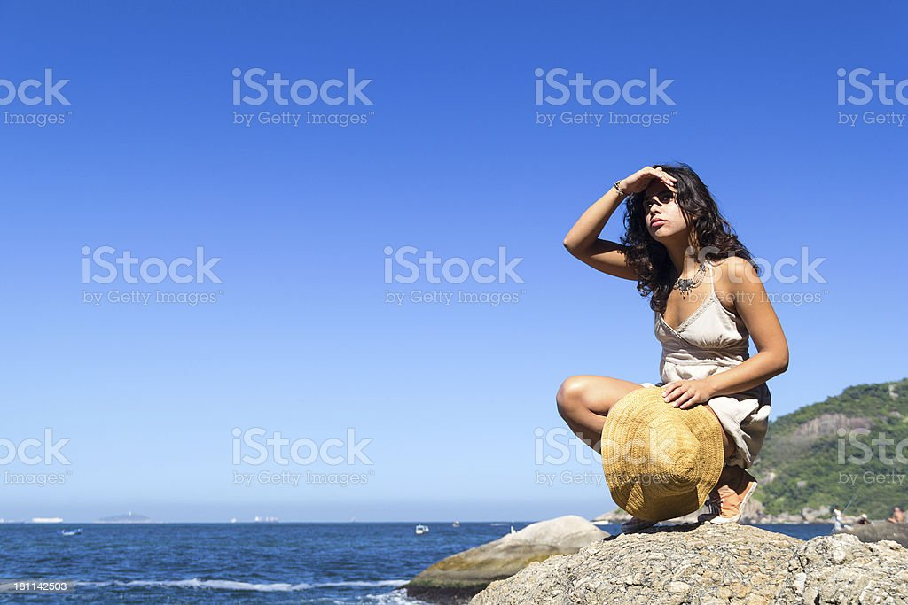 Girl looking at view royalty-free stock photo