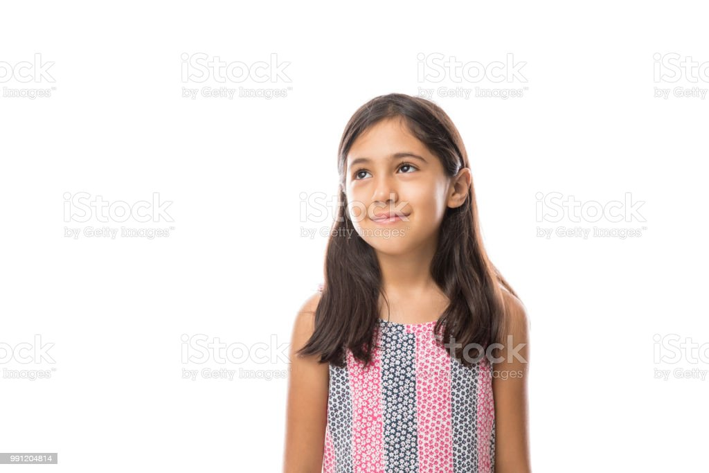 Girl looking away smiling on a light background portrait - Royalty-free 8-9 Years Stock Photo