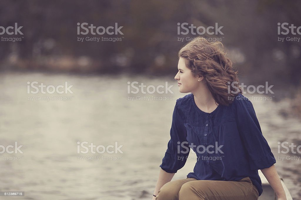 Girl Looking In the Distance stock photo