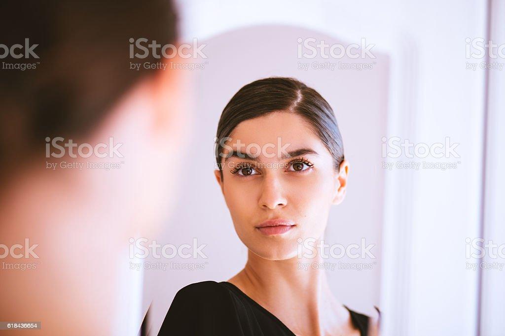 looking in mirror. Plain Mirror Girl Looking Into Mirror Stock Photo For Looking In Mirror O
