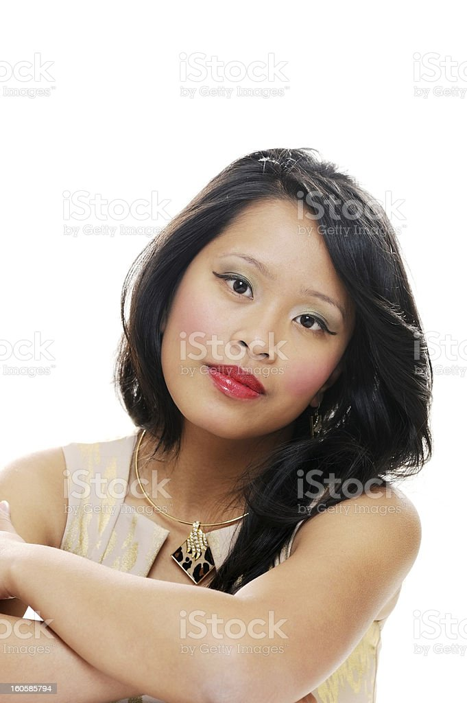 Girl looking serious royalty-free stock photo
