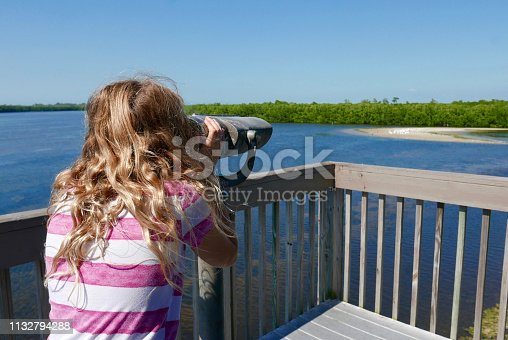 Girl with long hair looking through a viewing scope / coin-operated binoculars at the JN Ding Darling National Wildlife Refuge on Sanibel Island, Florida