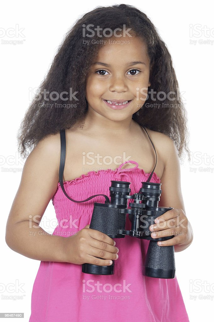 girl looking throuth the binoculars royalty-free stock photo