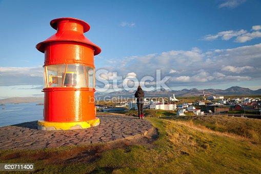 istock Girl looking to Stykkishólmur from the lighthouse 620711400