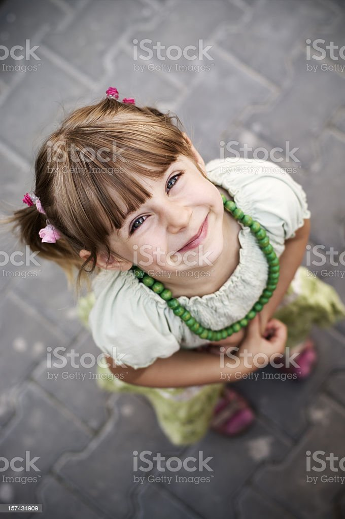 Girl looking up royalty-free stock photo