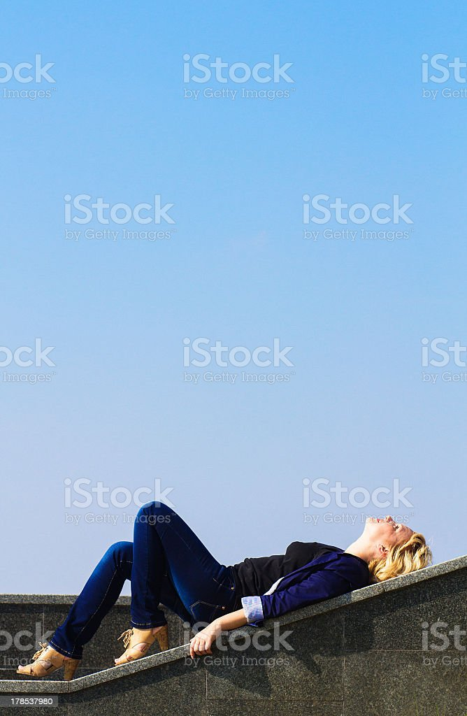 girl looks at the sky royalty-free stock photo