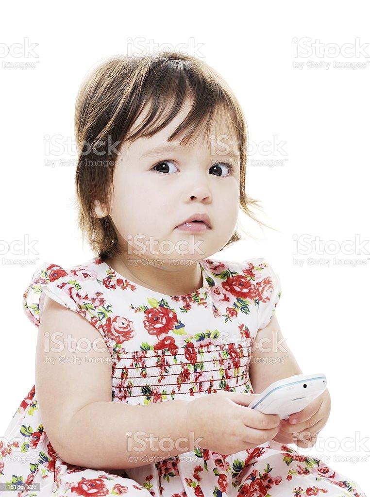 Girl looks worried stock photo