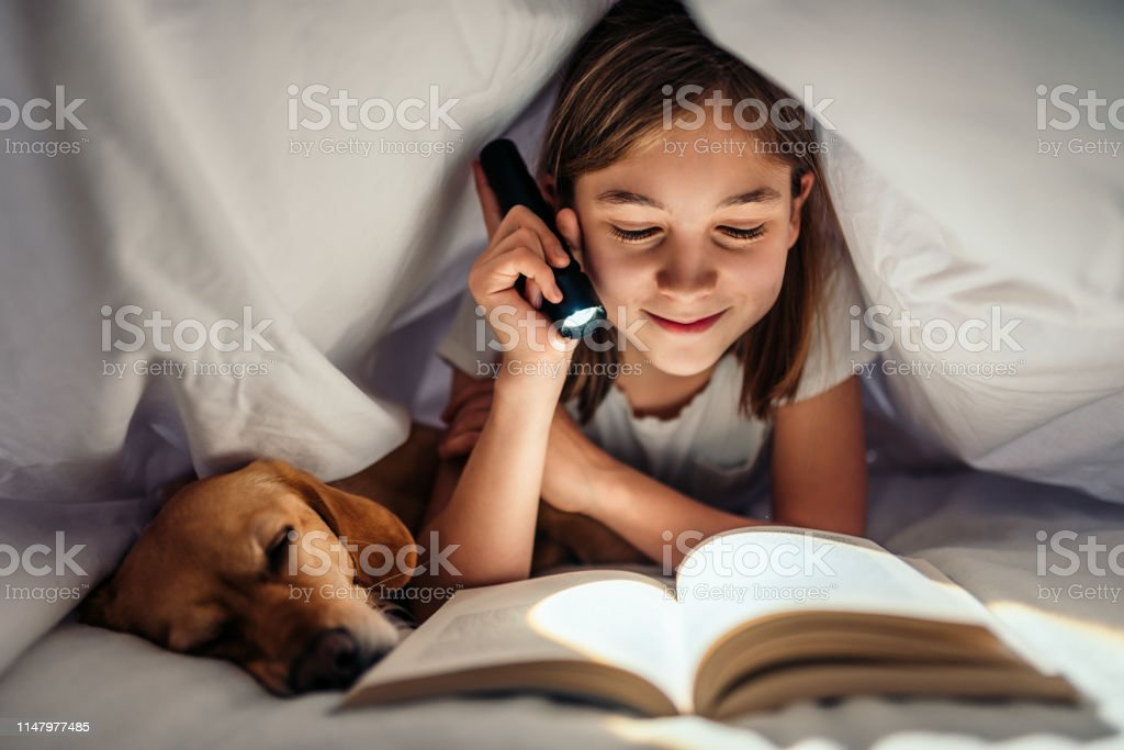 Girl lying in the bed with her dog under blanket reading book late at night - Royalty-free Adventure Stock Photo