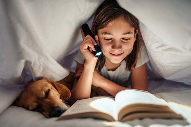 Girl lying in the bed with her dog under blanket reading book late at night Girl lying in the bed with her small brown dog under blanket holding flashlight and reading book late at night reading stock pictures, royalty-free photos & images