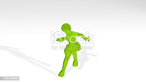 istock girl made by 3D illustration of a shiny metallic sculpture on a wall with light background. beautiful and woman 1255399985