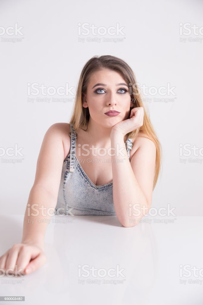 Girl making expression stock photo
