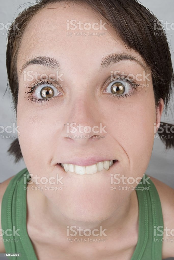 Girl making funny faces royalty-free stock photo