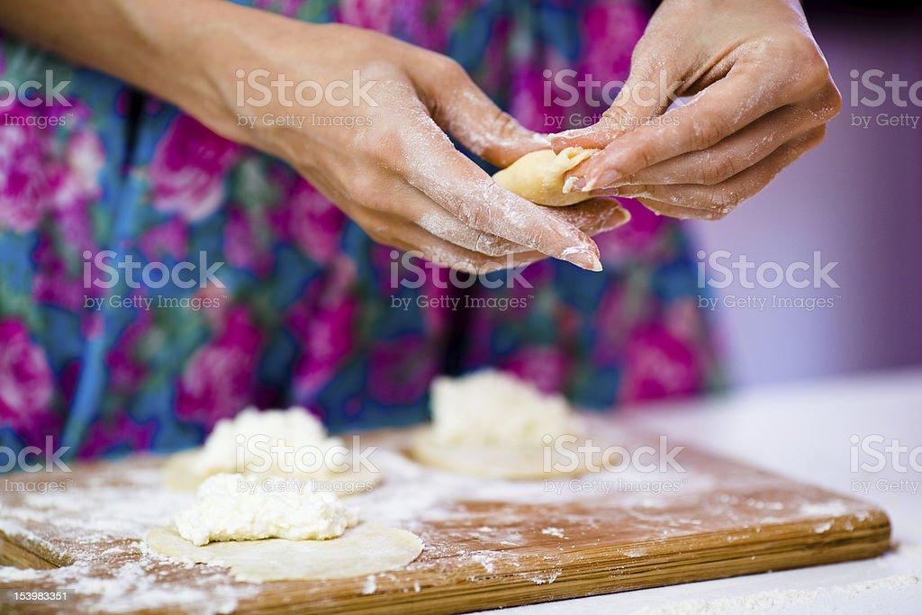 Girl making patties royalty-free stock photo