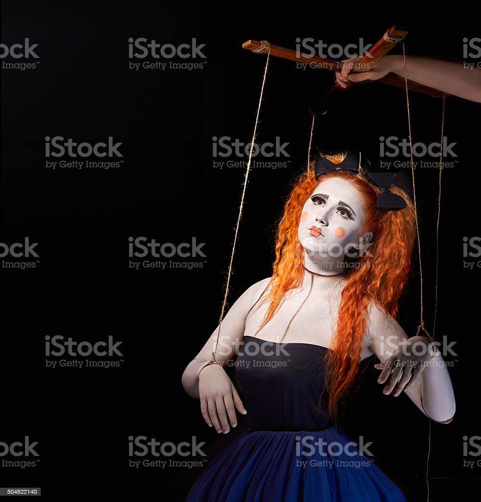 Girl marionette puppet stock photo