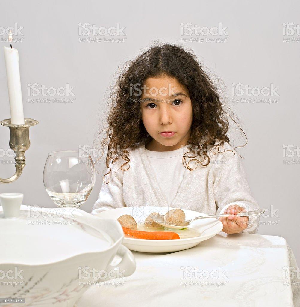 girl matzo ball soup royalty-free stock photo