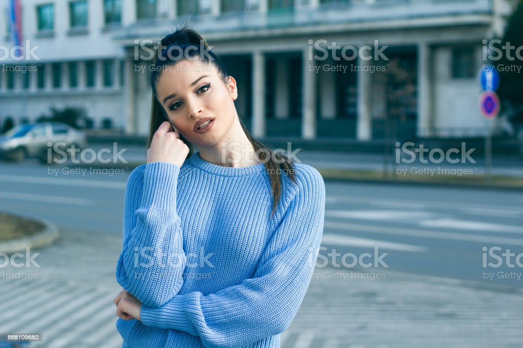Girl model in front of the street royalty-free stock photo