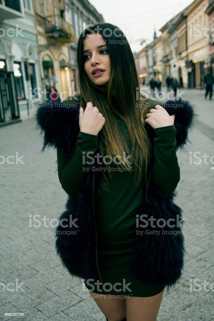 Girl model in town stock photo