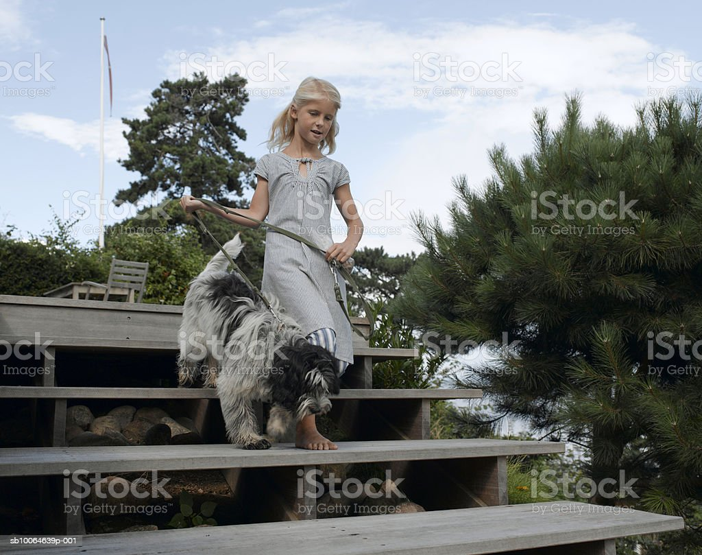 Girl (8-9) moving down steps with poodle royalty free stockfoto