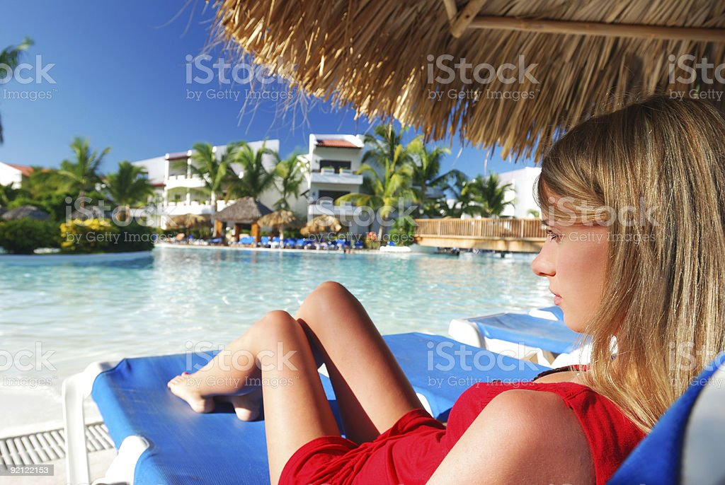 Girl near pool royalty-free stock photo