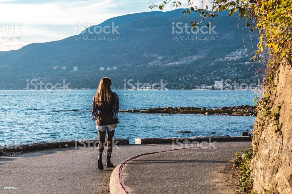 Girl near Stanley Park in Vancouver, Canada stock photo