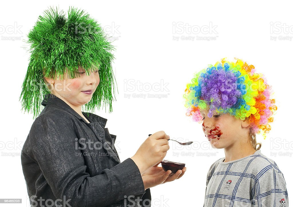 Girl nourish with jam boy royalty-free stock photo