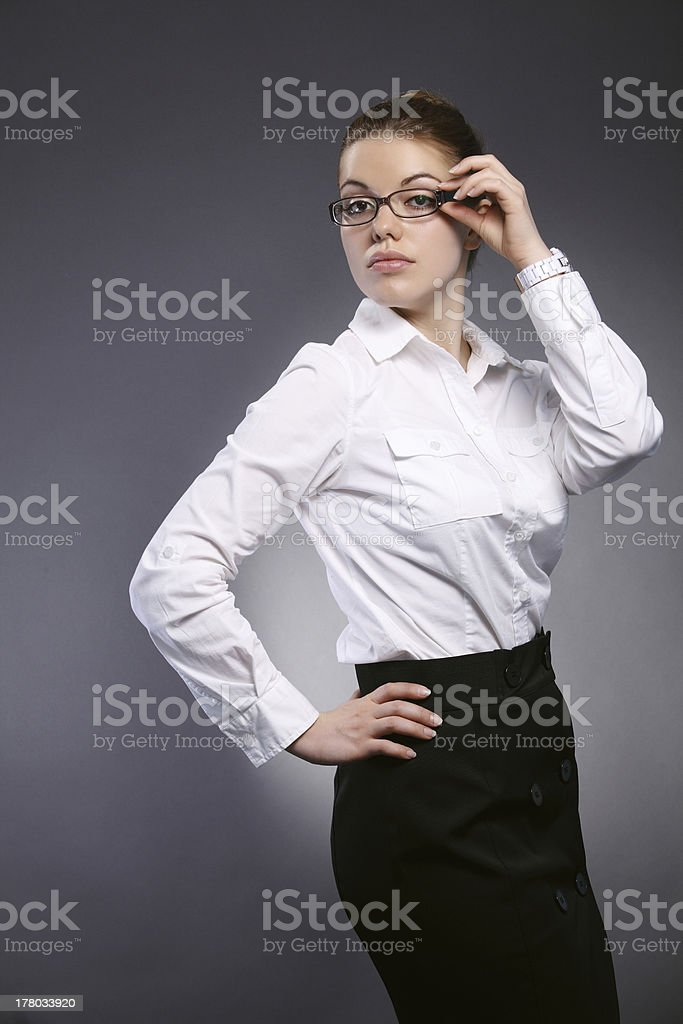 Girl office worker stock photo