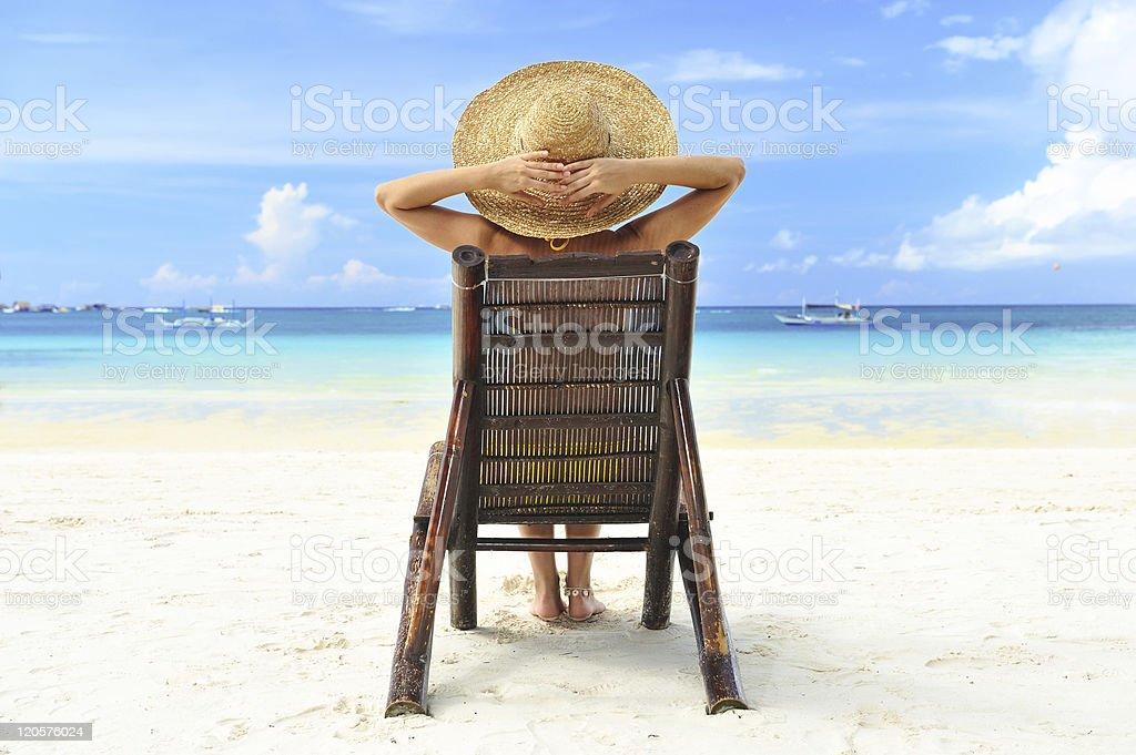 Girl on a beach royalty-free stock photo