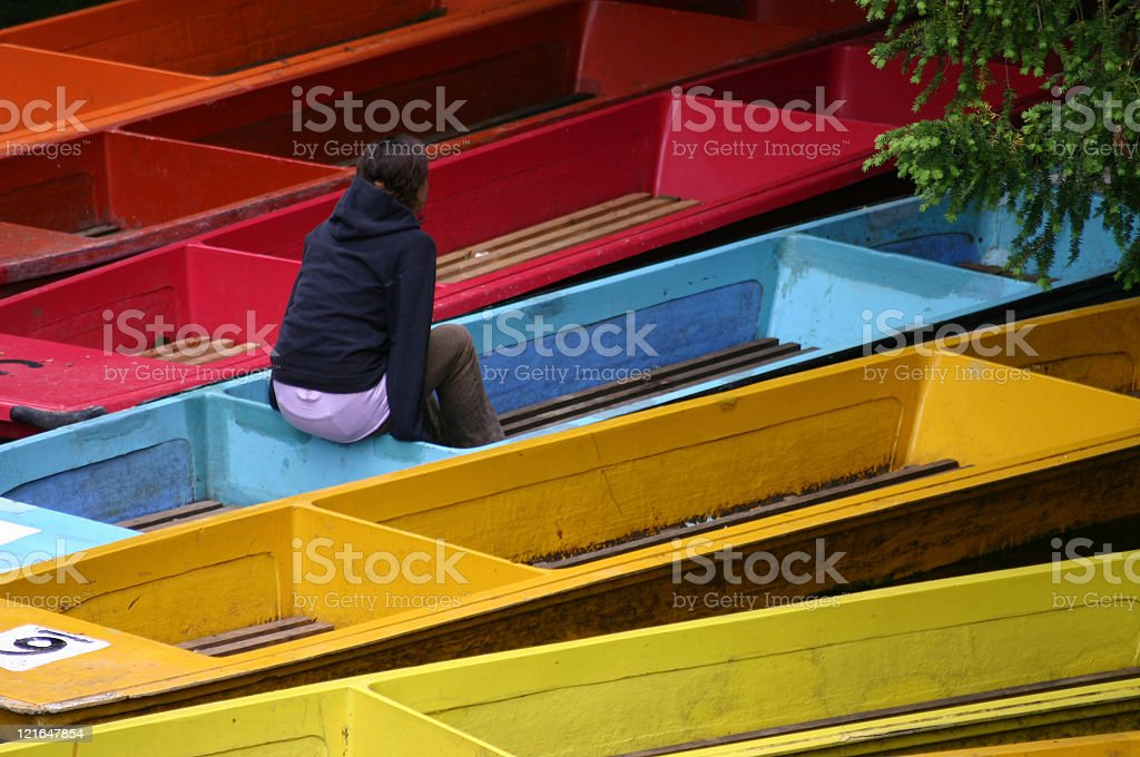 A girl on a boat stock photo