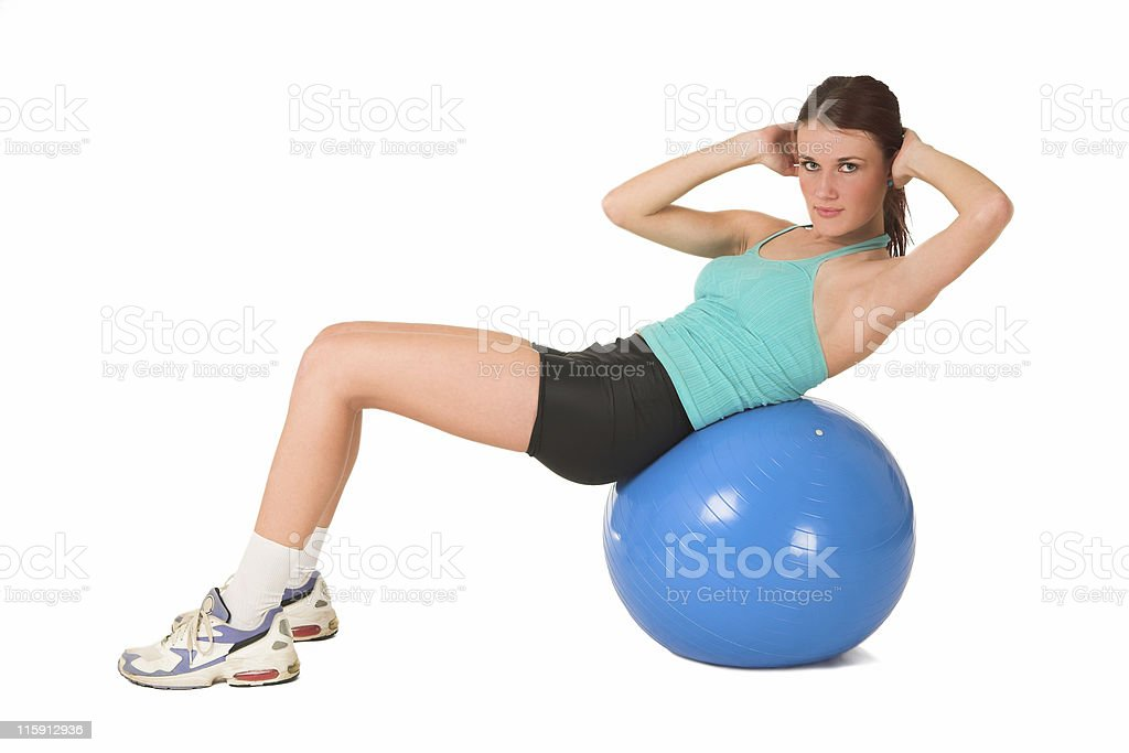 Girl on a Gymball royalty-free stock photo