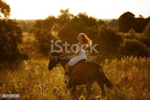 1128475475 istock photo Girl on a horse of high grass 507720133