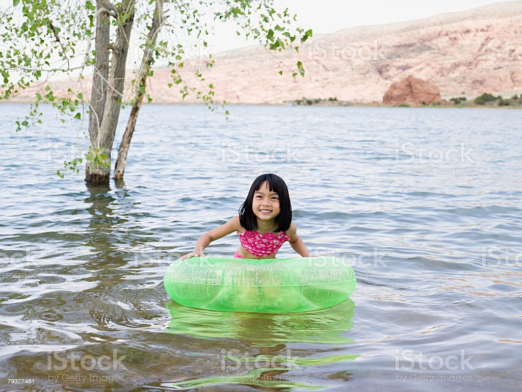 Girl on a lake royalty-free stock photo