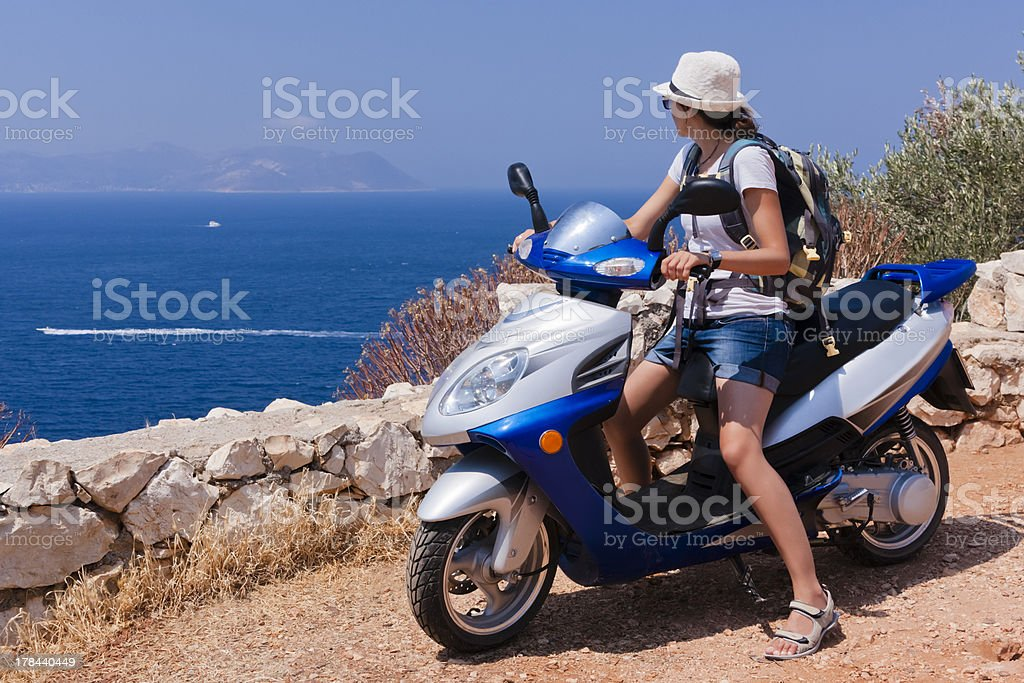 Girl on a Scooter stock photo