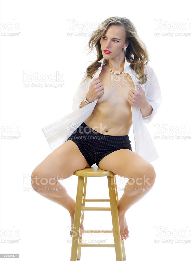 Girl on a Stool royalty-free stock photo
