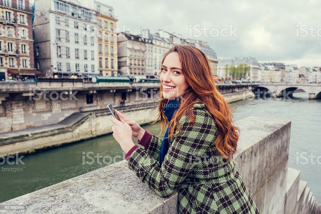 Girl on a vacation in Paris stock photo