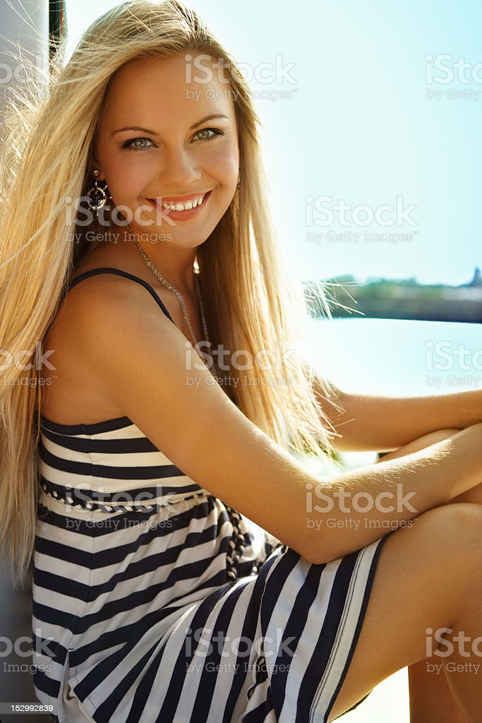 Girl on a yacht royalty-free stock photo