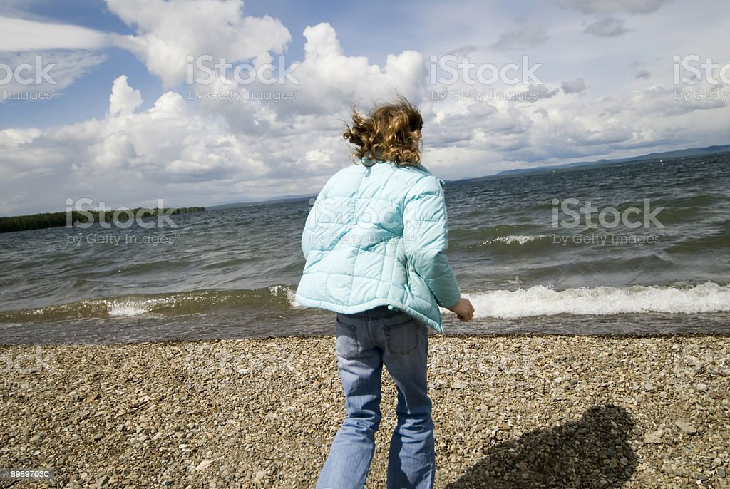 Girl on beach royalty-free stock photo