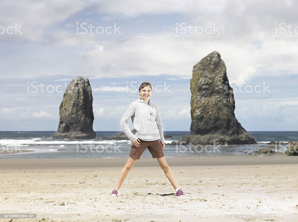 Girl (12-13) on beach royalty-free stock photo