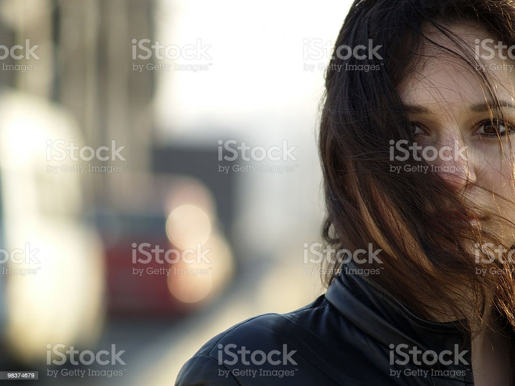 Girl on Bridge royalty-free stock photo