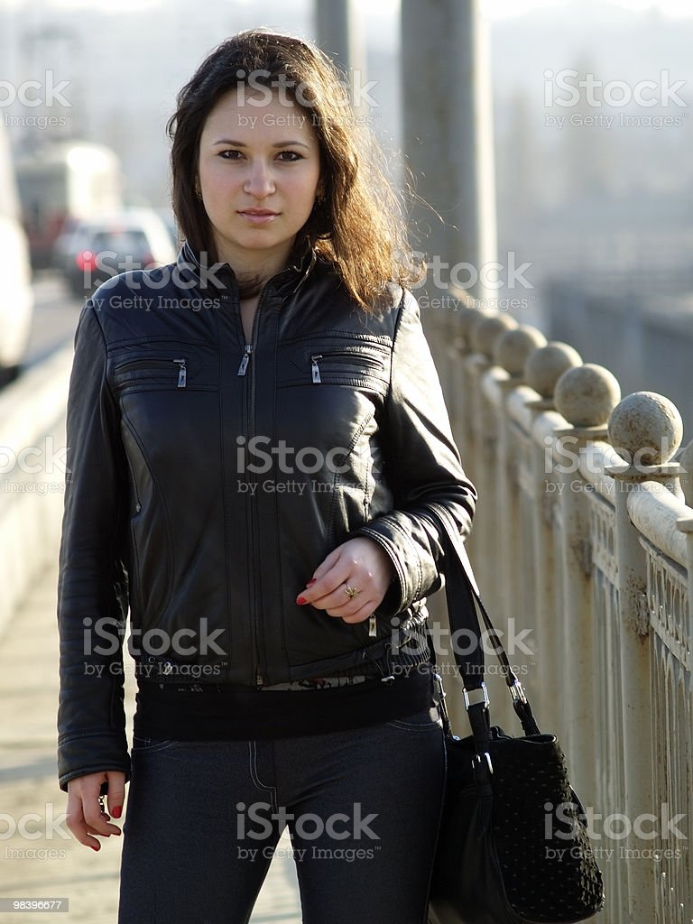 Girl on Bridge royalty-free stock photo